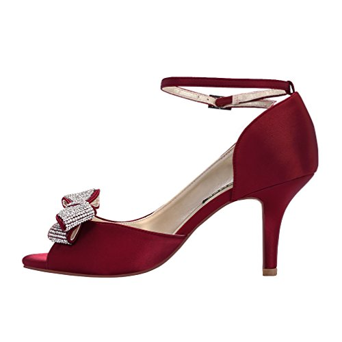 Rhinestones Burgundy Comfortable Evening Shoes Middle Toe Satin Party Women Bows ERIJUNOR Peep Wedding Heel 0AOZxwBq