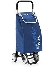 Gimi Twin Carrello Portaspesa 4 Ruote, Portata 30 kg, Richiudibile, Saliscale, Metallo/Poliestere, Blu, 41 x 53 x 92 cm