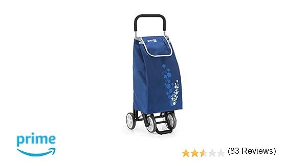 Gimi Twin - Carro de la compra, con 4 ruedas, bolsa impermeable de poliéster, capacidad de 56 litros, azul, 40 x 53 x 92 cm