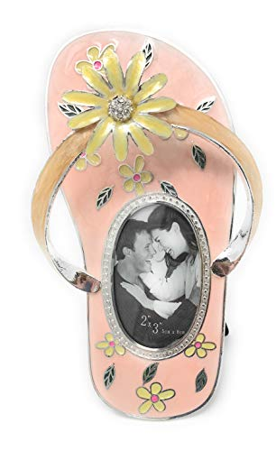 - Kubla Crafts Enameled Flip Flop Picture Frame, Holds Small Photo 1.875 Inches Wide x 2.865 Inches Tall, Accented with Austrian Crystals