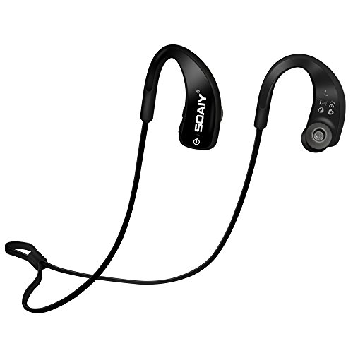 SOAIY Water Resistant(IPX5) Sweatproof Sports Bluetooth Headphones 4.0 HD Stereo Headset, Noise Canceling Earphones with Mic, Earbuds for Running Jogging Hiking Workout Gym Exercise