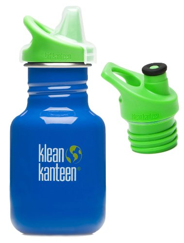 Klean Kanteen 12 oz Stainless Steel Water Bottle with 2 Caps (Kid Kanteen Sippy Cap and Sports Cap 3.0 in Bright Green) - Ocean Blue