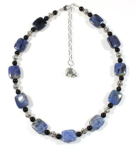 Style ARThouse Denim Girl Natural Blue Dumortierite Short Necklace, 17 Inches Adjustable