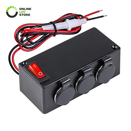 ONLINE LED STORE Automotive DC Power Outlet Extension w/On-Off Switch [Heavy Duty] [12V-24V] [15 Amp] [in-Line Fuse] [Hardwire] Car Triple Socket Cigarette Lighter Plug Switch Box (Dc-outlet-store)