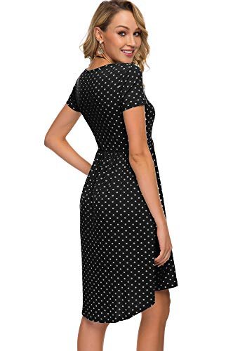 Floral Drop Waist Dress - Women's Short Sleeve Flare Midi Dress Summer Loose Casual Swing Dress with Pockets in Dot and Floral (M, Black dot)
