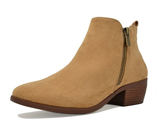 TOETOS Women's Stylish Cowboy Chunky Block Heel Zipper Closure Ankle Booties