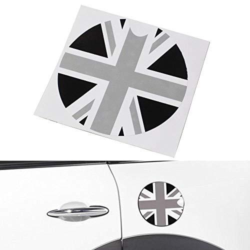 - iJDMTOY Black/Grey Union Jack UK Flag Pattern Vinyl Sticker Decal for All Mini Cooper Models Gas Cap Cover