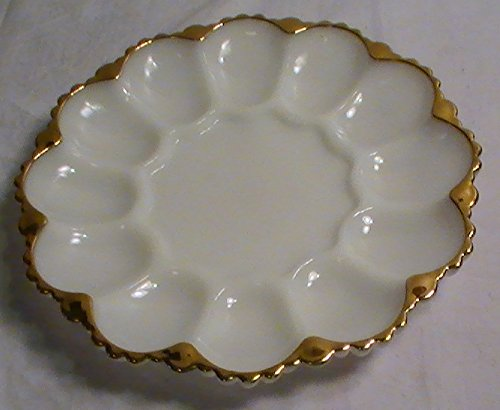 Vintage Anchor Hocking Milk Glass with Gold Trim Deviled Egg Plate