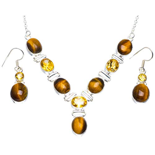 Natural Tiger Eye and Citrine 925 Sterling Silver Jewelry Set Necklace 19