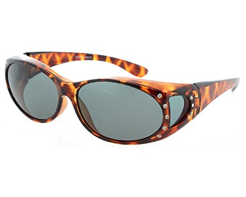 Men and Women Polarized Fit Over Lens Cover Sunglasses - Tortoise with Rhinestone