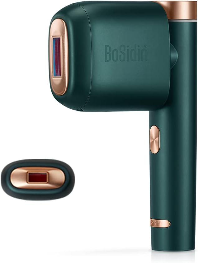 BoSidin Depiladora de luz pulsada Sistema IPL Dispositivo de depilación permanente indolora con función de enfriamiento incl. 3 puntas para el cuerpo la cara línea del bikini (verde)