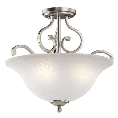 Lighting Light Kichler Ceiling (Kichler 43232NI Camerena Semi-Flush 3-Light, Brushed Nickel)