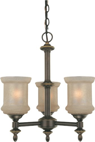 Lite Source LS-19413 Vashon 3-Lite Ceiling Lamp, Bronze with Glass Shade