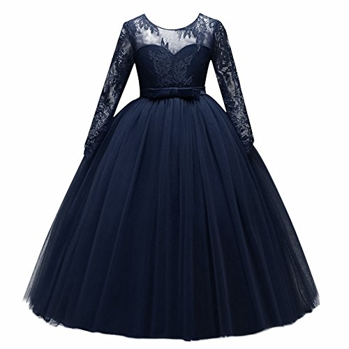 Girl Long Sleeve Satin Lace Kids Wedding Dress with Bow Flower Girl Dress Embroidered Pageant Tulle Party Dance Evening Gown Navy Blue 4-5 Years for $<!--$11.75-->
