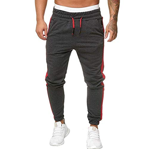 NEARTIME Men Sport Sweatpants, Male Patchwork Long Pencil Trousers Casual Straight Tracksuit Fitness Workout Joggers Dark Gray from NEARTIME