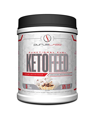 Purus Labs KetoFeed | Clean Meal Replacement Shake, MCT, Whey Isolate, Powder | 15 Servings (Creamy Butter Pecan) ()