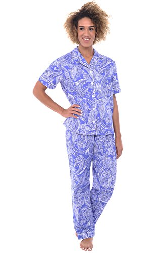 Del Rossa Women's Cotton Pajamas, Woven Pj Set with Pants, Large Blue with White Paisleys, Piping (A0518B05LG)