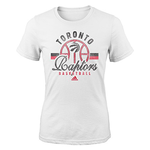 fan products of NBA Toronto Raptors Girls Classic Basketball Arch Short Sleeve Tee, Medium (10-12), White