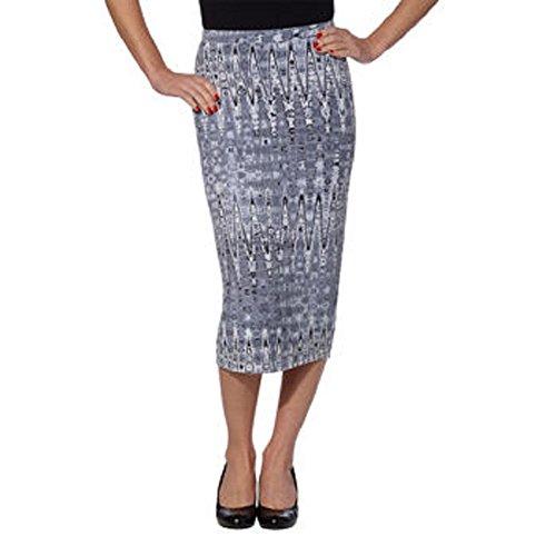 Matty M Ladies' Midi Skirt Pull-on Style, Fully Lined, Knee Length (Medium, Gray Tie-Dye) (Skirt Dye Tie Lined Fully)