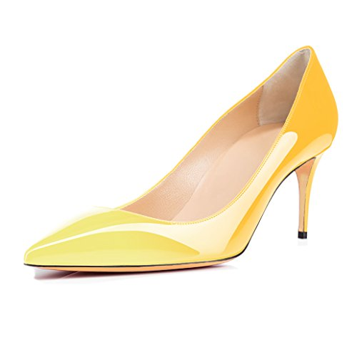 Shoes Leather Ubeauty Patent Slip Heels Toe Stiletto On multicolor Work Womens High Court Suede Pumps Or Pointed 65mm Yellow xcY1wWq1Op