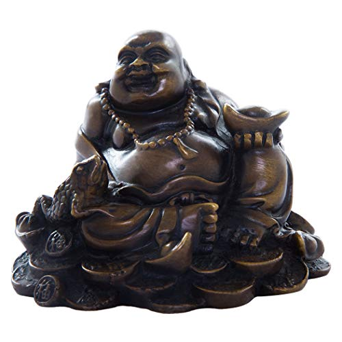 Fengshui Brass Brown Sitting Laughing Buddha with Money Frog Statue Handmade Decoration for Health Luck TQ193