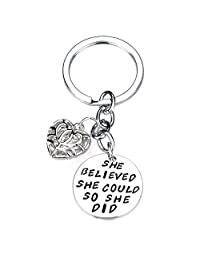 She Believed She Could So She Did Filigree Heart Pendant Keychain Keyring