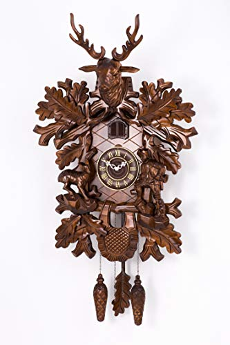 Polaris Clocks Cuckoo Clock in Black Forest Style with Night Mode Option and Hand Carved Deer Head (Brown, Deers & Hunter)