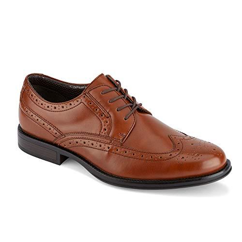 Dockers Mens Wycliff Brogue Dress Wingtip Oxford Shoe, Tan, 8.5 M