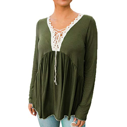 Ximandi Women's Lace V-neck Tunic Tops Ladies Casual Long Sleeve Autumn Loose T-Shirt for $<!--$3.99-->
