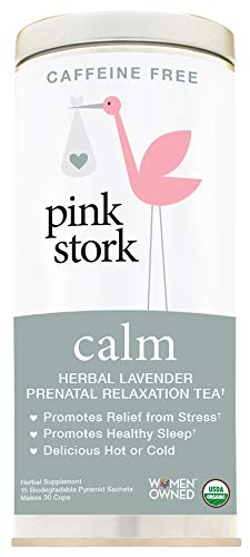 Pink Stork Calm: Herbal Lavender Prenatal Relaxation Tea, USDA Organic Loose Leaf in Biodegradable Sachets -Natural Stress and Anxiety Relief, Support Healthy Sleep -30 Cups, Caffeine-Free
