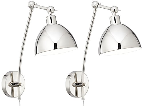 Delon Chrome Adjustable Plug In Wall Lamp Set Of 2