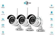 Vimtag B1 [3 Pack] White Outdoor Camera, Wi-Fi, Video Monitoring, Surveillance, Security Camera, Plug/play, Night Vision, (32 GB SD Card Pre Installed)