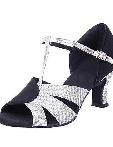 shangyi heelt lateinische and femmes Sandales Bas sliver heelt velours/Paillette Contraste Couleur Chaussures de danse - black and sliver bea97fc - digitalweb.space