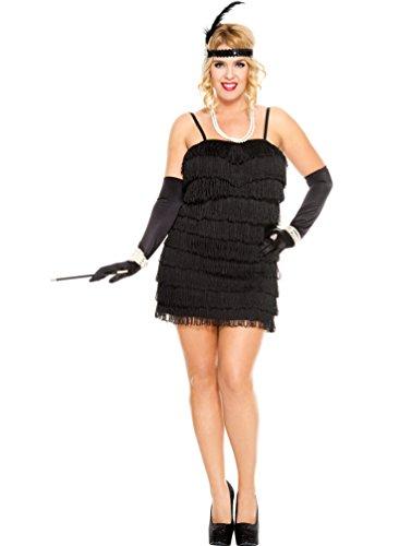 MUSIC LEGS Women's Plus-Size 1920's Flapper Plus Size, Black, -