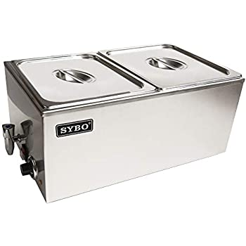 Sybo Stainless Steel Bain Marie Electric Food Warmer and Buffet Server Steam Table, Double Section with 2 Well, Pot, Pan for Restaurant (Double Section with Tap)