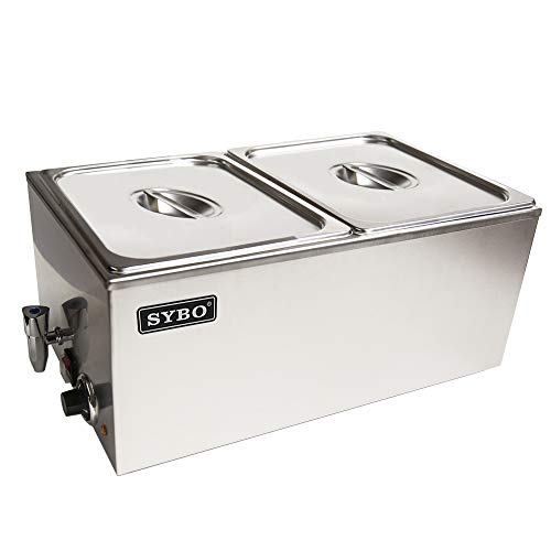 Two Section Server - SYBO Ma ZCK165BT-2 Commercial Grade Stainless Steel Bain Marie Buffet Food Warmer Steam Table for Catering and Restaurants, ((2 Sections with Tap), Sliver
