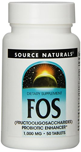 Source Naturals FOS (Fructooligosacchairdes) 1000mg Probiotic Enhancer - Prebiotic Supplement - Natural - 50 Tablets (Best Sources Of Prebiotics)