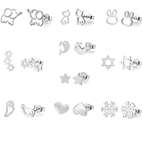 10 Pairs Silver Plated Post Cute Animal Fruit Stud Earrings Set Hypo-Allergenic (elephant stars snow cat (Animal Silver Jewelry Set)