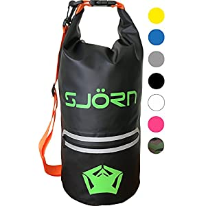 Waterproof Dry Bag by SJORN - Outside Zip Pocket, Shoulder Strap & Visibility Window. Best for Keeping Gear Dry when Travelling Rafting Boating Kayaking Canoeing Camping Hiking 12L Black Jelly
