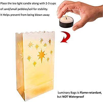 Bolsas para Velas (50 Paquete)  - Resistente al Fuego Linternas de Papel Blanco para Partido y Decor de la Boda con Velas Té - Estrella, Corazón, ...