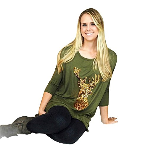 Tongshi Mujeres Damas Deer De Navidad De Impresión Camisa Casual Tops Camiseta Blusa suelta Verde