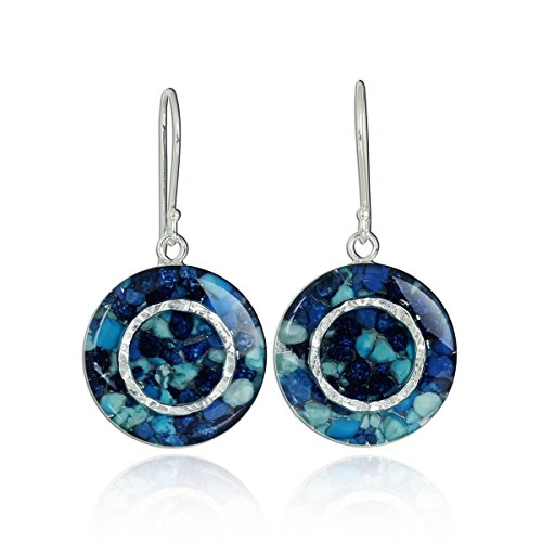 (Shades of Blue Gemstone Earrings Unique Round Cluster 925 Sterling Silver with Resin Enamel Coating)