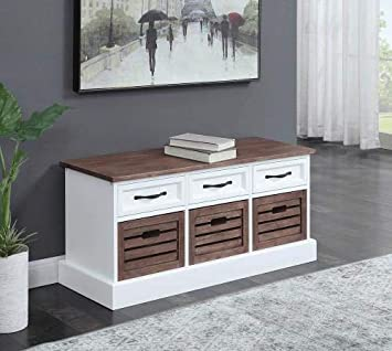 Amazing Amazon Com Coaster Storage Bench In Cappuccino And White Pdpeps Interior Chair Design Pdpepsorg