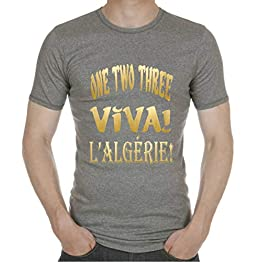 One Two Three Viva! l'Algérie! T-Shirt Lettres dorées. Tee-Shirt Homme Coton col Rond.