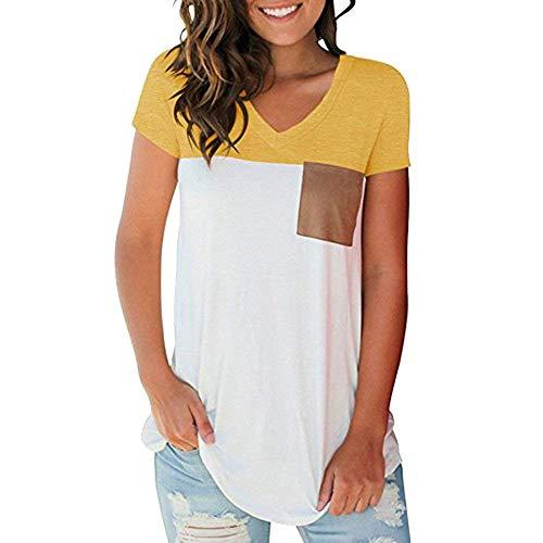 V Poches Branch Haut Manches Elgante Courtes Et Tshirts Casual Mode Top Avant Cou Chemise Basic Jeune Blusen Femme T Vetement Gelb Mode Couleurs Mlanges Shirts aYva4B