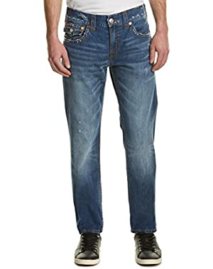 Men's Skinny Leg Relaxed Fit Flap Red Orange Stitch Jeans in Right Turn
