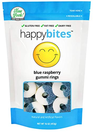 Happy Bites Blue Raspberry Gummi Rings - Gluten Free, Fat Free, Dairy Free - Resealable Pouch (1 Pound)