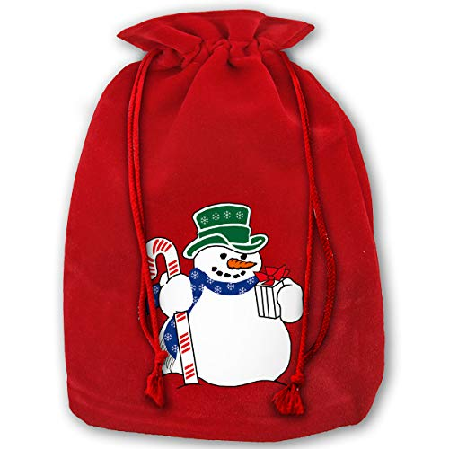 Clipart Snowman - 3 Pack Christmas Sacks Santa Stocking Gift Sack Express Delivery Present/Gift/Storage Bag from North Pole Red Drawstring Gift Bag, Cartoon Snowman Clipart