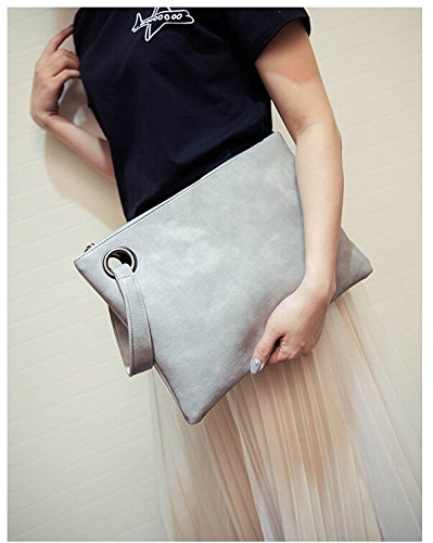 Money coming shop Money coming shop Fashion solid women's clutch bag leather women envelope bag clutch evening bag female Clutches Handbag Immediately shipping (Gray) price tips cheap