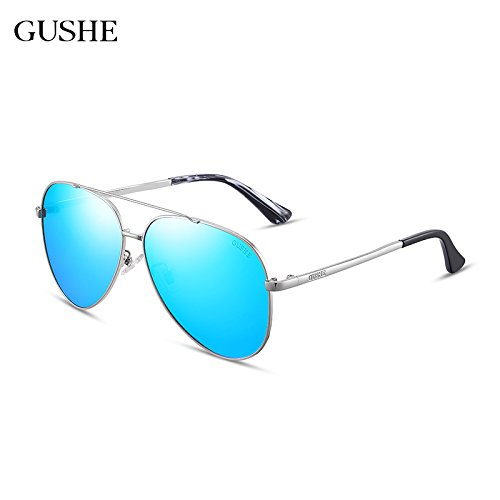 hombre masculino conducir sol gemajing Blue gafas conductor polarizadas Chip de Silver The Box espejo sol Gafas el retrovisor gafas espejo de pionero KOMNY negro de gris marco Negro AqPfxwdnA